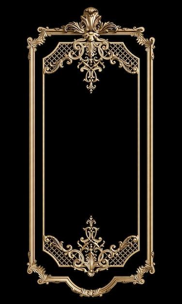 Klasyczna Złota Rama Z Wystrojem Ornament Na Białym Na Czarnym Tle. Cyfrowa Ilustracja. Renderowanie 3d Premium Zdjęcia