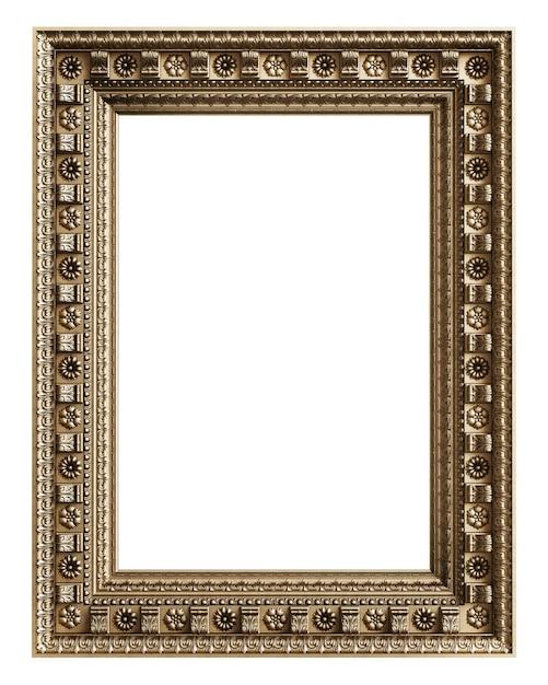 Klasyczna Złota Rama Z Wystrojem Ornament Na Białym Tle. Cyfrowa Ilustracja. Renderowanie 3d Premium Zdjęcia