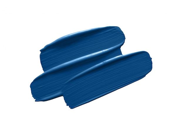 Klasyczne Niebieskie Pociągnięcia Pędzlem Na Białym Tle Premium Zdjęcia
