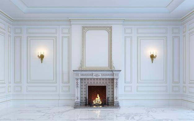 Klasyczne wnętrze w jasnych kolorach z kominkiem. renderowania 3d. Premium Zdjęcia
