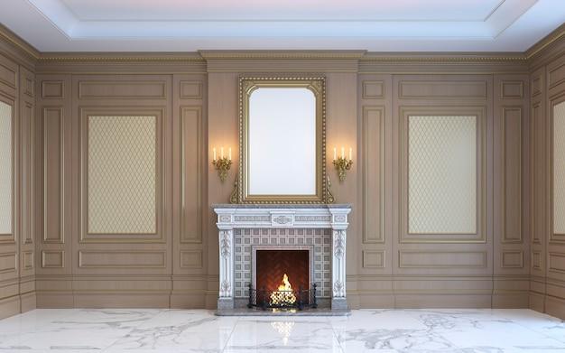 Klasyczne wnętrze z drewnianymi panelami i kominkiem. renderowania 3d. Premium Zdjęcia