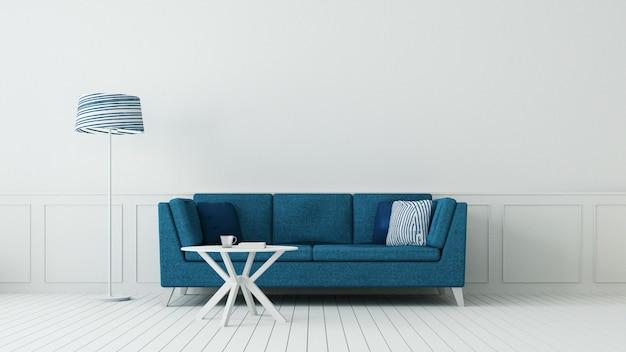 Klasyczny Niebieski Salon I Luksusowa ściana Wewnętrzna / Rendering 3d Premium Zdjęcia