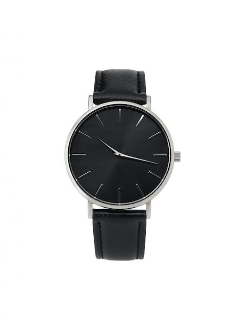 Klasyczny srebrny zegarek damski z czarną tarczą, skórzany pasek Premium Zdjęcia