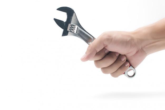 Klucz, Klucz. Ręka Trzyma Metalu Wyrwanie Na Bielu Premium Zdjęcia
