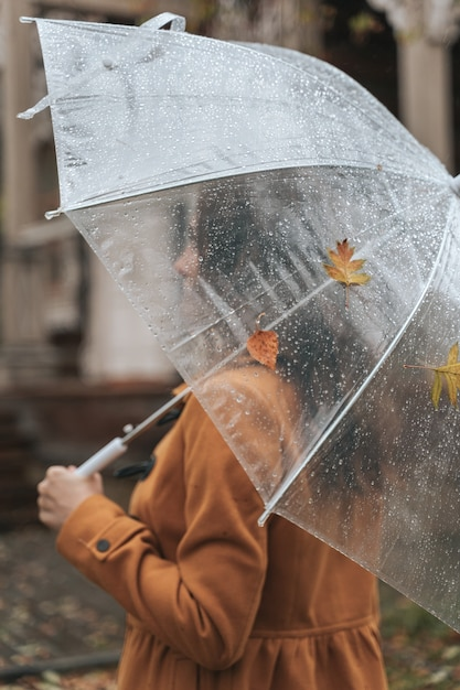 Kobieta Bez Twarzy, Trzymając Parasol Na Zewnątrz W Parku Jesienią Podczas Deszczu. Premium Zdjęcia