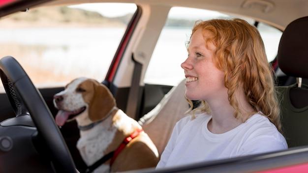 Kobieta I Jej Pies W Samochodzie Darmowe Zdjęcia