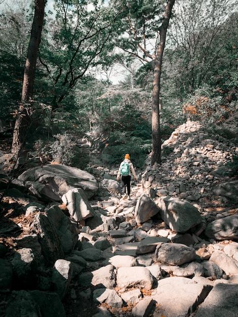 Kobieta podróżująca w górach korei południowej Premium Zdjęcia