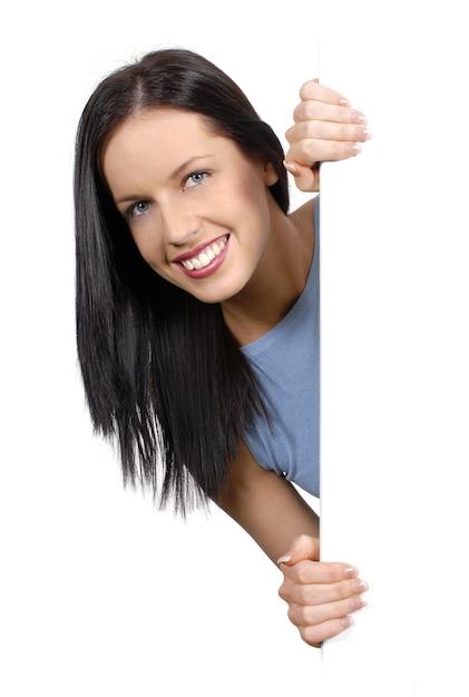 Kobieta Trzyma Białą Planszę Darmowe Zdjęcia