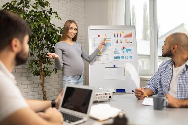 Kobieta W Ciąży Daje Prezentację W Biurze Współpracownikom Płci Męskiej Darmowe Zdjęcia