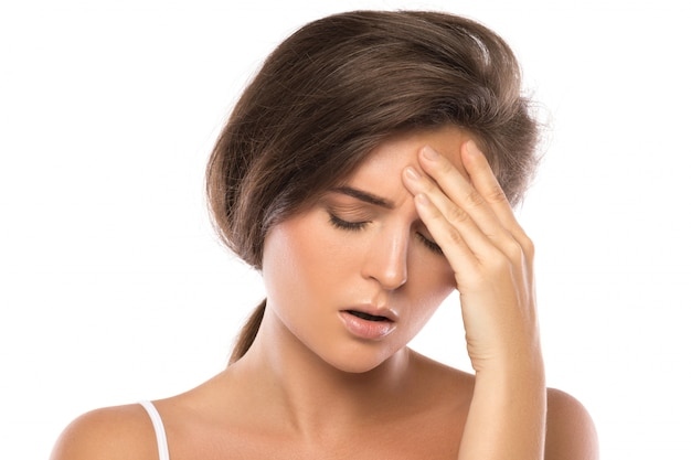 Kobieta Z Bólem Głowy Premium Zdjęcia