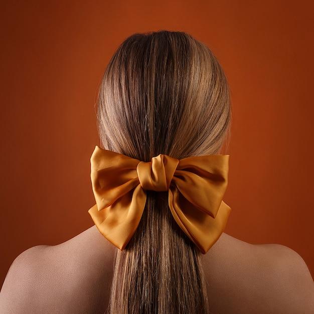 Kobieta Z Kokardą We Włosach Premium Zdjęcia