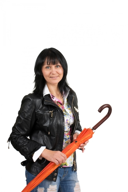 Kobieta Z Parasolem Na Białym Tle Premium Zdjęcia