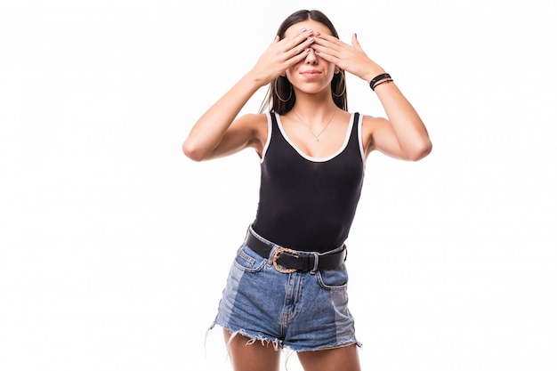 Kobieta Zakrywa Ona Oczy Z Oba Rękami Odizolowywać Darmowe Zdjęcia