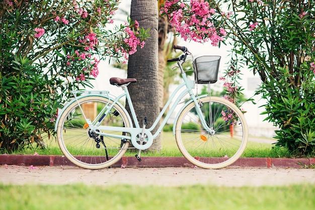Kobiety Rocznika Rower Przeciw Zielonym Krzakom I Różowym Kwiatom. Stylowy Rower Retro Z Koszem Zaparkowanym Na Ulicy. Premium Zdjęcia