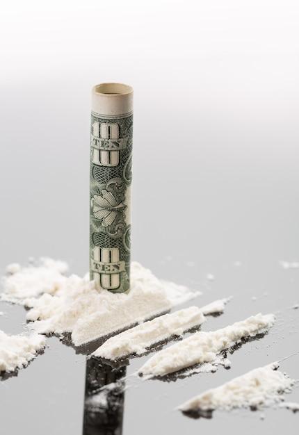 Kokaina I Banknot 10 Dolarów Premium Zdjęcia