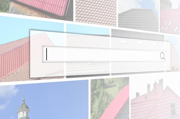 Kolaż wielu zdjęć z fragmentami różnego rodzaju pokryć dachowych. Premium Zdjęcia