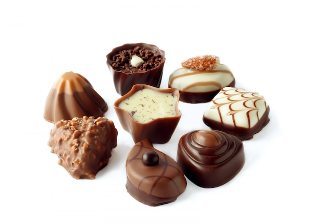 Kolekcja Pięknych Pysznych Cukierków Czekoladowych Premium Zdjęcia