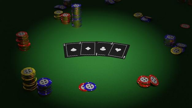 Kolekcja Realistyczna Izometryczny Kasyno I żetony Do Pokera Na Zielonym Tle Premium Zdjęcia