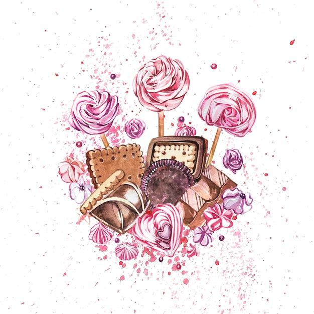 Kolekcja Słodyczy Akwarela. Premium Zdjęcia