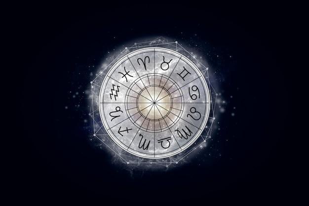 Koło Astrologiczne Ze Znakami Zodiaku Na Tle Gwiaździstego Nieba Premium Zdjęcia