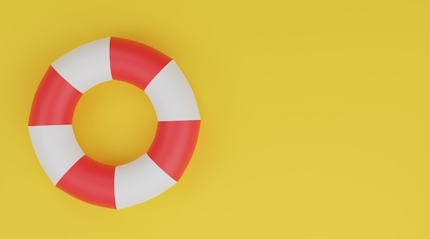 Koło Pływackie 3d, Boja Ratunkowa Czerwono-biała Na żółtym Tle Premium Zdjęcia