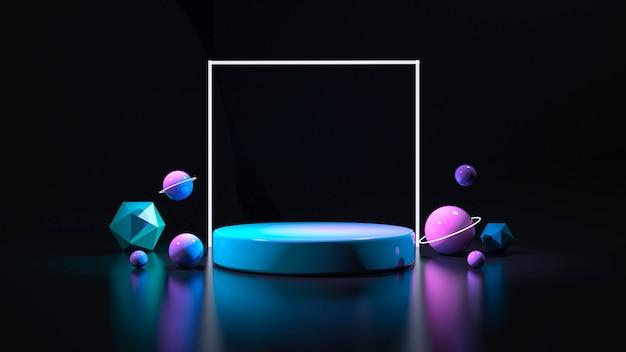 Koło światła Neonowego. Streszczenie Futurystyczne Tło Premium Zdjęcia