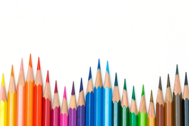Kolorów ołówki odizolowywający na białym tle Premium Zdjęcia
