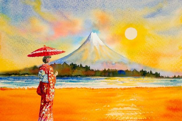 Kolorowe Akwarele Zabytki W Japonii. Premium Zdjęcia