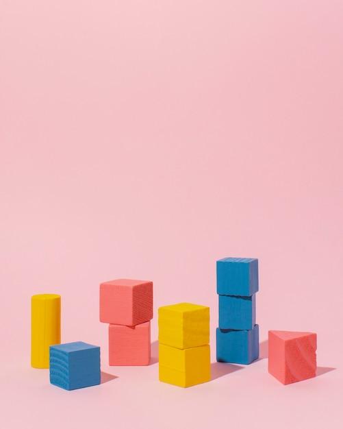 Kolorowe Drewniane Kostki Ramki Premium Zdjęcia