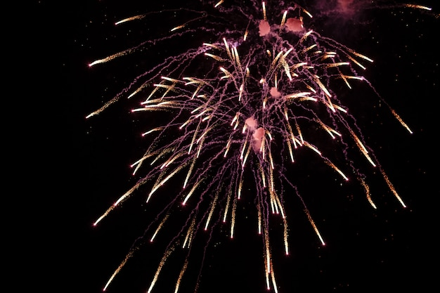 Kolorowe Fajerwerki Na Festiwalu Deep Black Sky On Fireworks Premium Zdjęcia