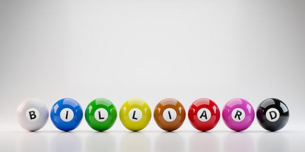 Kolorowe Kule Bilardowe Na Białym Tle W Standardowych Ośmiu Kolorach Premium Zdjęcia