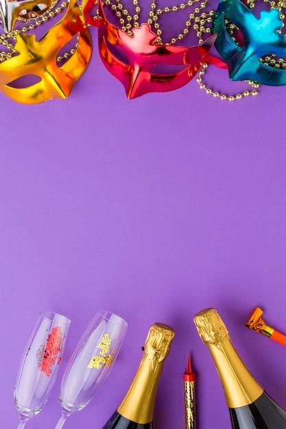 Kolorowe Maski Karnawałowe Z Butelkami Szampana Darmowe Zdjęcia