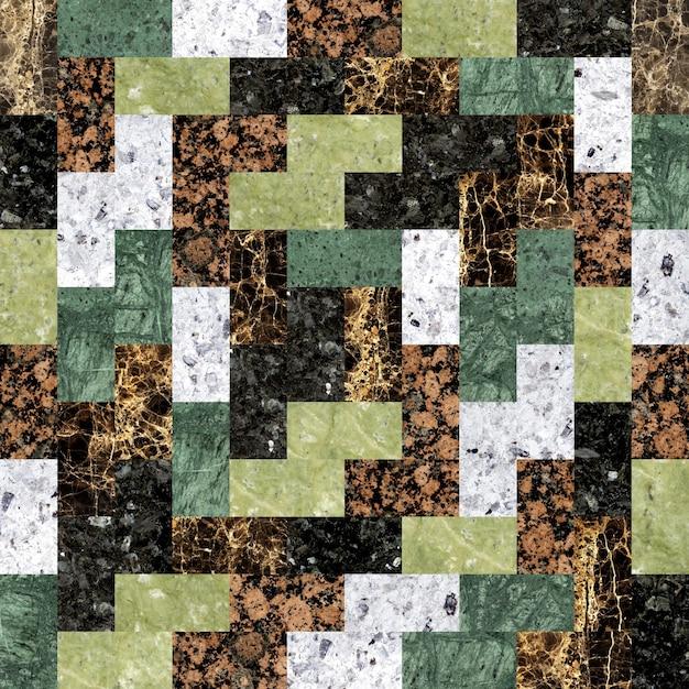 Kolorowe Płytki Podłogowe Z Granitu. Mozaika Z Kamienia Naturalnego. Premium Zdjęcia