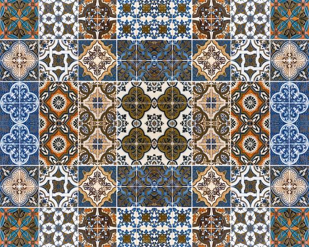 Kolorowe wzory płytek na tle. Premium Zdjęcia