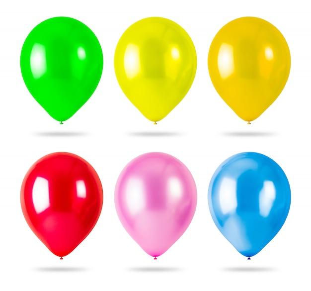 Kolorowi balony odizolowywający na białym tle Premium Zdjęcia
