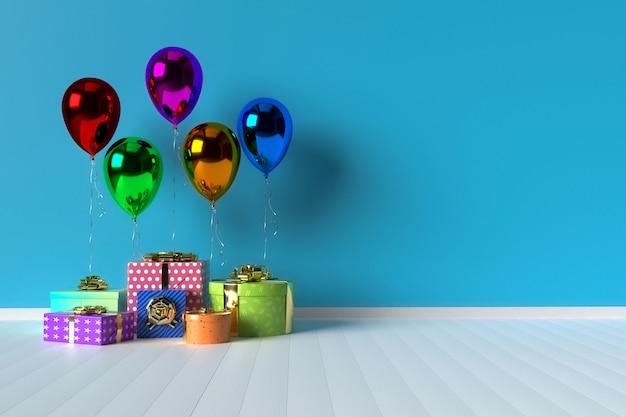Kolorowi prezentów pudełka z balonami na tle Premium Zdjęcia