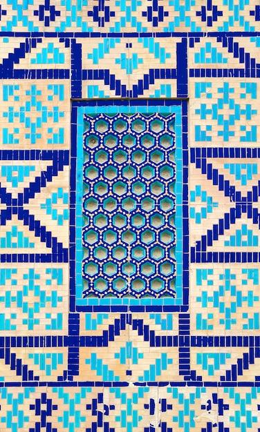 Kolorowy Antyczny Tradycyjny Uzbeka Wzór Na Ceramicznej Płytce Na ścianie Meczet, Abstrakcjonistyczny Tło Premium Zdjęcia