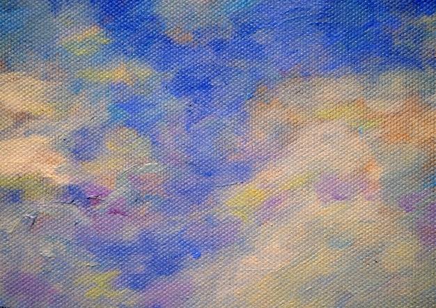 Kolorowy obrazu olejnego niebo z obłocznym abstrakcjonistycznym tłem i teksturą. Premium Zdjęcia