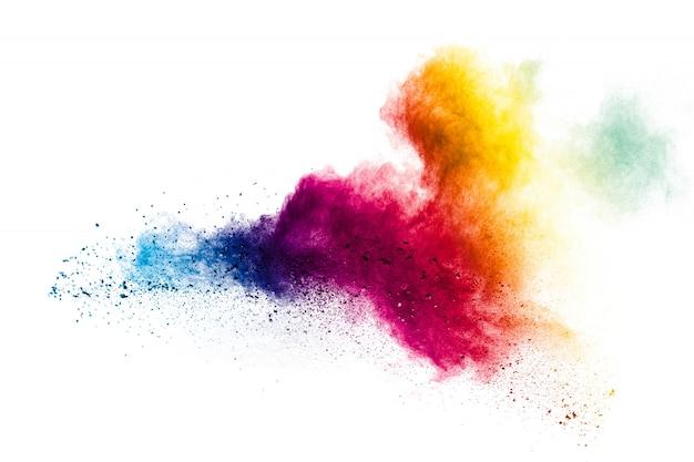 Kolorowy Prochowy Wybuch Na Białym Tle Premium Zdjęcia