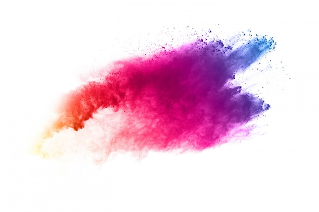 Kolorowy prochowy wybuch na bielu. Premium Zdjęcia