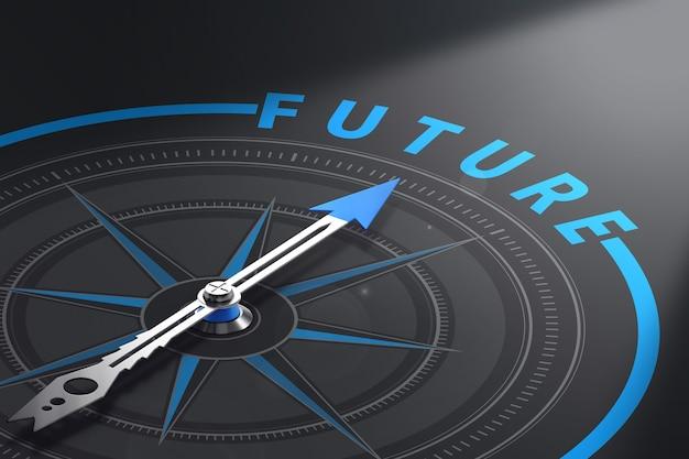 Kompas Z Igłą Skierowaną W Przyszłość Słowo, Czarne Tło. Koncepcja Wizji Biznesowej Lub Rozwiązań Perspektywicznych. Ilustracja 3d Premium Zdjęcia