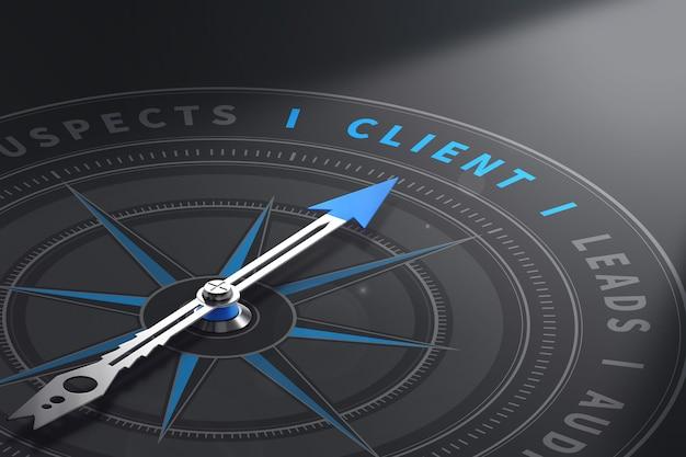 Kompas Z Igłą Wskazującą Słowo Klienta. Menedżer Ds. Relacji Z Klientami. Ilustracja 3d Premium Zdjęcia
