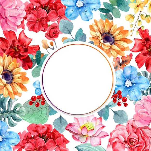 Kompozycja kwiatowa z ramą koła Premium Zdjęcia