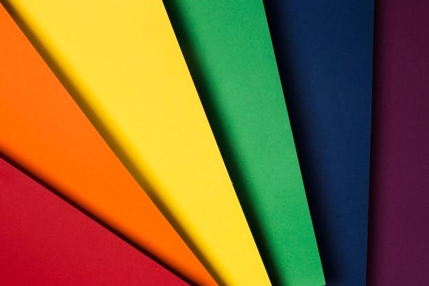 Kompozycja Płaskich Kolorowych Arkuszy Papieru Premium Zdjęcia