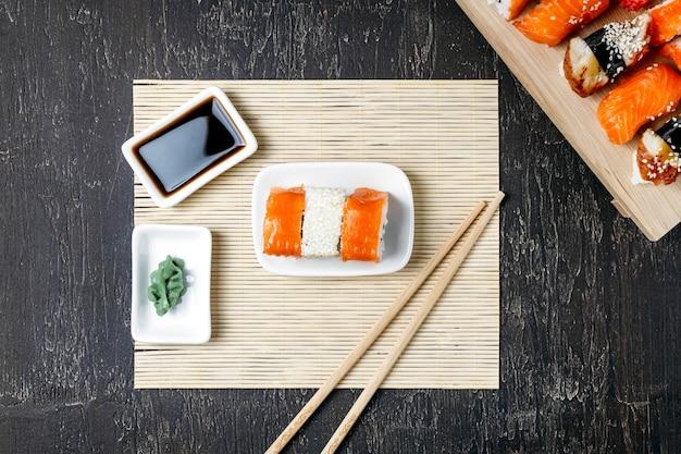 Kompozycja Płasko świeckich Tradycyjnych Japońskich Potraw Premium Zdjęcia