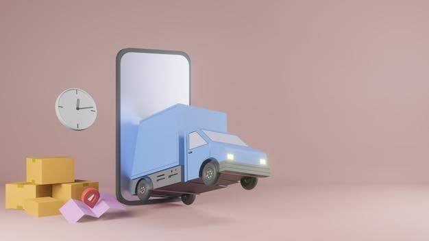 Koncepcja Aplikacji Usługi Dostawy Online, Samochód Dostawczy I Telefon Komórkowy Z Mapą. 3d Premium Zdjęcia
