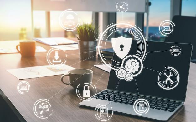 Koncepcja bezpieczeństwa cybernetycznego i ochrony danych cyfrowych Premium Zdjęcia