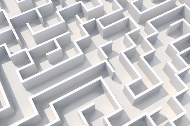 Koncepcja Biały Labirynt ściany Widok Z Góry. 3d Ilustracji Premium Zdjęcia
