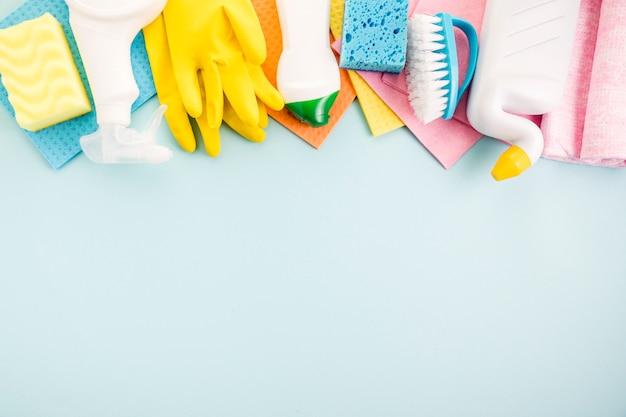 Koncepcja czyszczenia płaskiej kompozycji leżącej Darmowe Zdjęcia