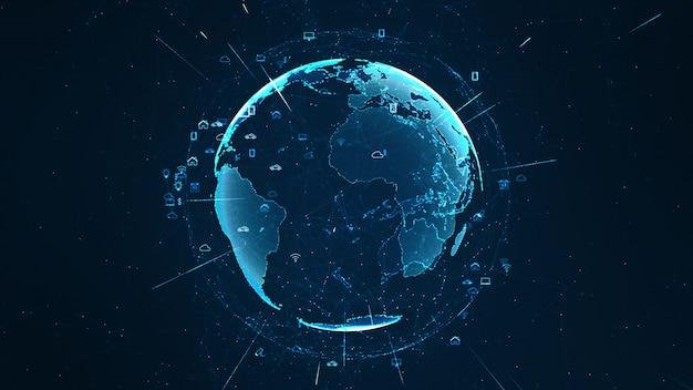 Koncepcja Globalnej Sieci. Internet Przedmiotów (internet Of Things). Premium Zdjęcia